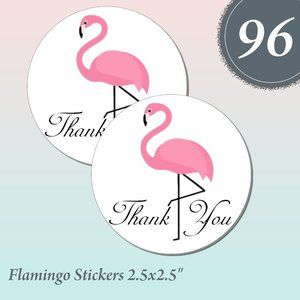 "Other - 96  Flamingo Thank you Stickers 2.5"" x 2.5"""